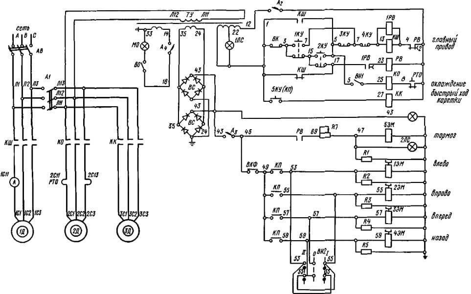 Электрическая схема 1М63